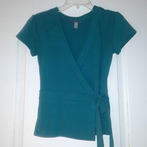 Women's V-Neck Belted Wrap Teal Top